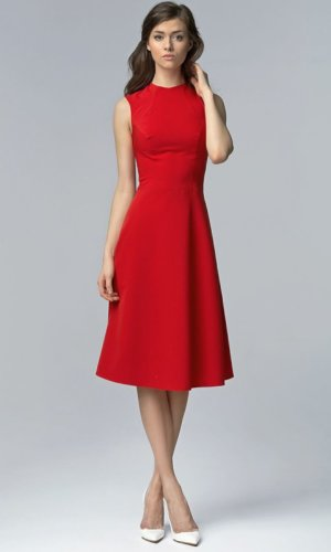 Red Aline Midi Dress