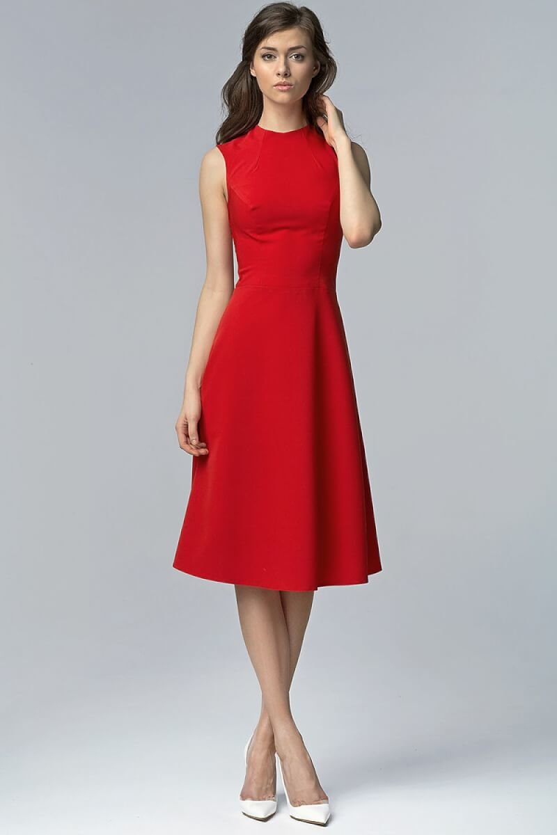 Red Aline Midi Dress