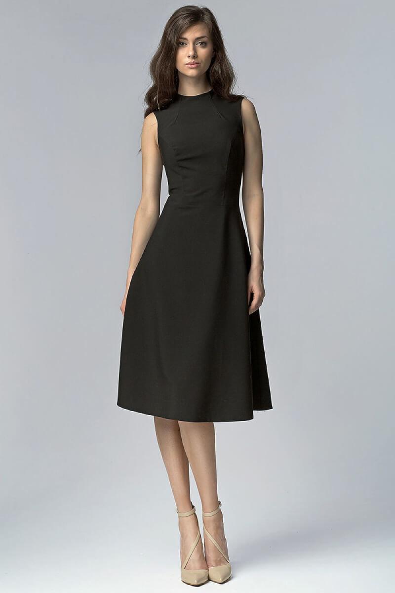 Black Aline Midi Dress