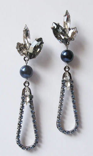 Blue Pearl Moon Earrings
