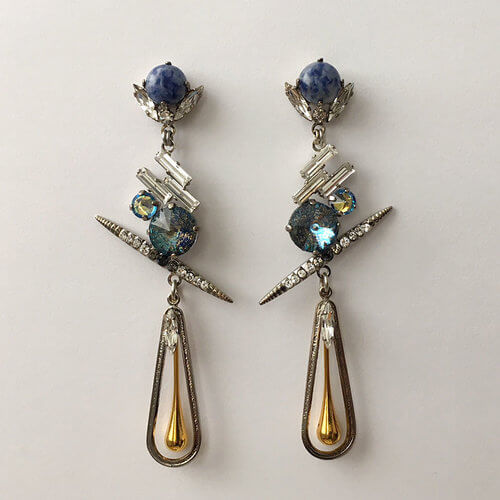 Chrysler Gold Drop Earrings rrings made using Swarovski crystal stones, natural Soda lite cabochons and 14k gold plated metal drop