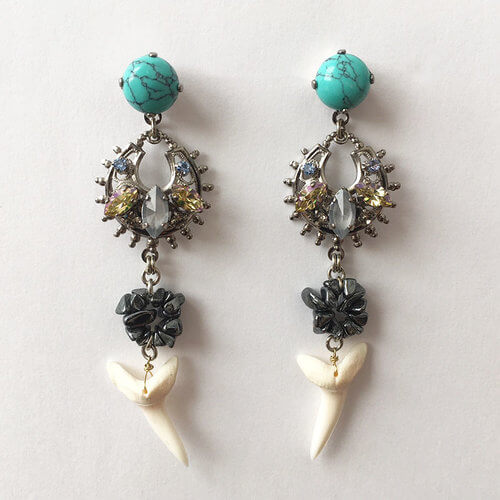 Flores Turquoise and Shark tooth Earrings