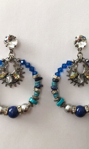 Flores Blue Hoop Earrings