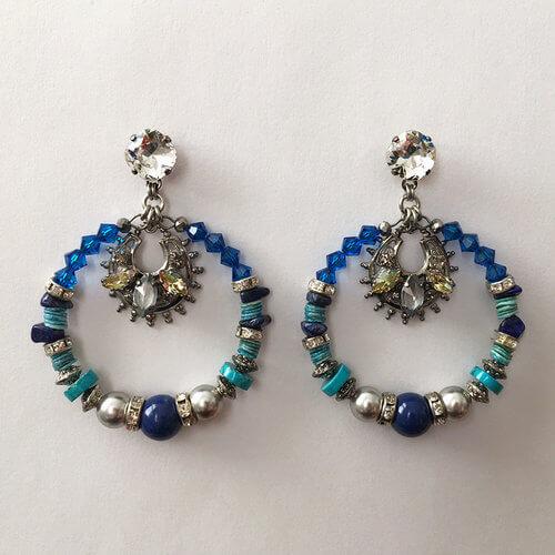 Flores Blue Hoop Earrings