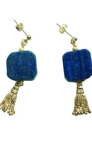 Square Natural Lapis Lazuli Tassel Earrings.