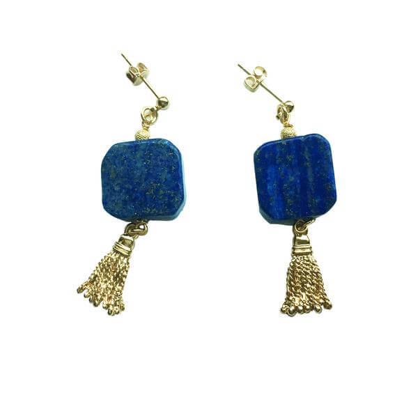 Square Natural Lapis Lazuli Tassel Earrings.
