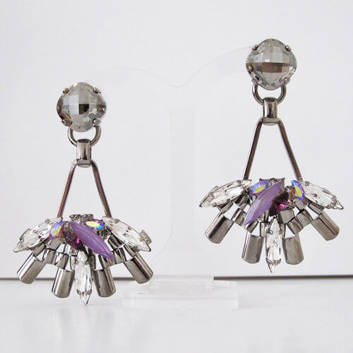 Moon Fan Earrings.Gorgeous drop earrings made using Swarovski crystal stones in clear, Black diamond, Satin and hand enamelled lilacs.