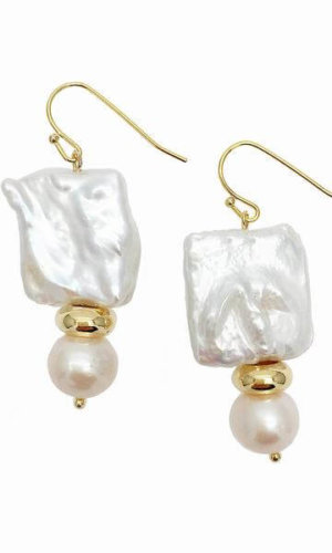 Rectangular Round Freshwater Pearls Drop Earrings