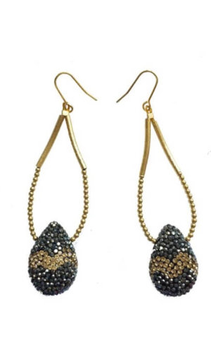 Tear Drop Black Gold Rhinestones Earrings