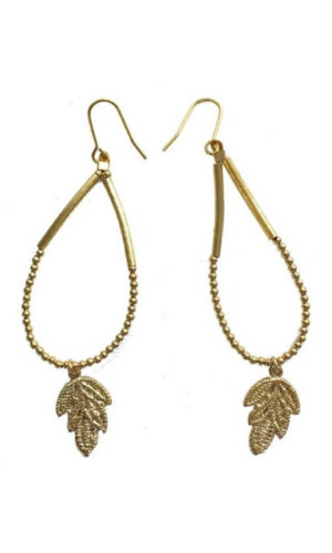 Gold Plated Brass Leaf Earrings