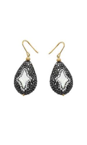Star Pearl Rhinestones Bordered Pearl Earring