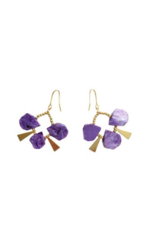 Natural Charoite Drop Earrings
