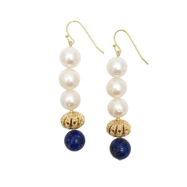 Round Freshwater Pearls & Natural Lapis Lazuli Drop Earrings