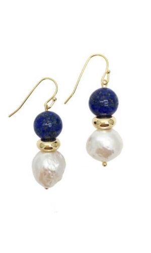 Natural Round Lapis Lazuli Freshwater Edison Pearl Drop Earrings