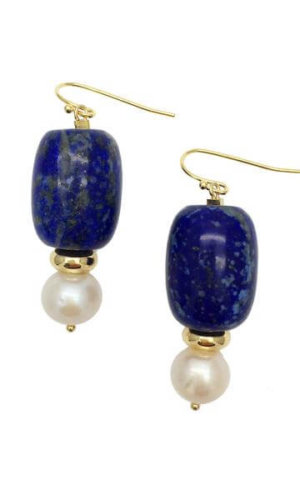 Nugget Lapis Lazuli Round Freshwater Pearls Drop Earrings