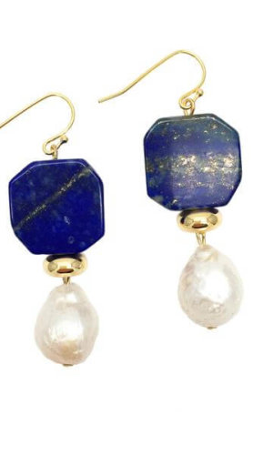 Lapis Lazuli Freshwater Edison Pearl Drop Earrings