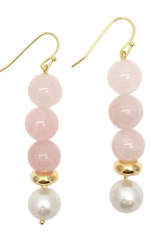 Round Rose Quartz Freshwater Pearl Drop Earrings