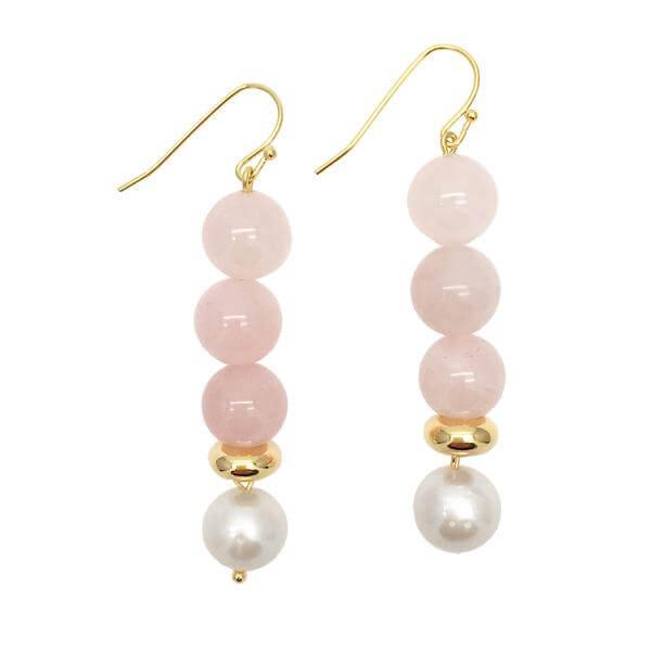 Round Rose Quartz Freshwater Pearl Drop Earrings