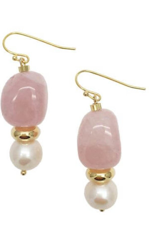 Nugget Rose Quartz Freshwater Pearls Drop Earrings.