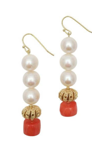 Freshwater Pearls Natural Bamboo Coral Drop Earrings. These earrings are made of round freshwater pearls with natural bamboo coral.