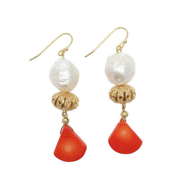 Edison Freshwater Pearl & Natural Coral Drop Earrings