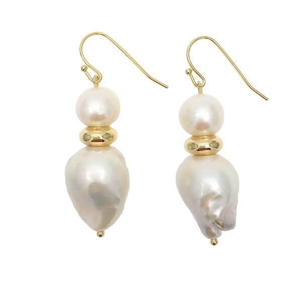 Natural Baroque & Round Freshwater Pearls Drop Earrings.