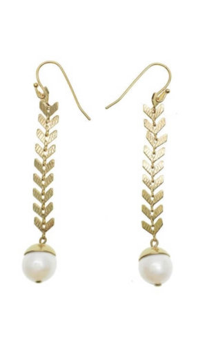 Wheat With Freshwater Pearls Dangle Earrings