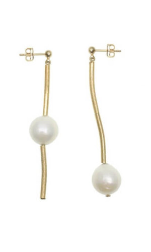 Simple Freshwater Pearls Elongated Earrings