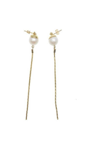 Freshwater Pearl Elongated Chain Earrings