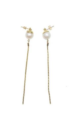 Freshwater Pearl Elongated Chain Earrings