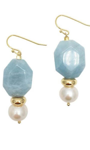 Faceted Aquamarine Round Freshwater Pearls Drop Earrings
