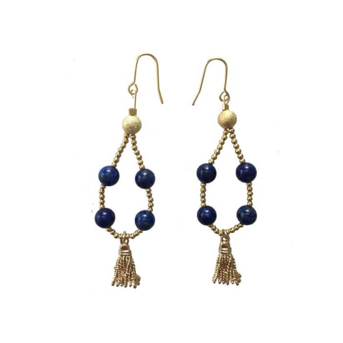 Teardrop Wired Lapis Lazuli with Tassel Earrings