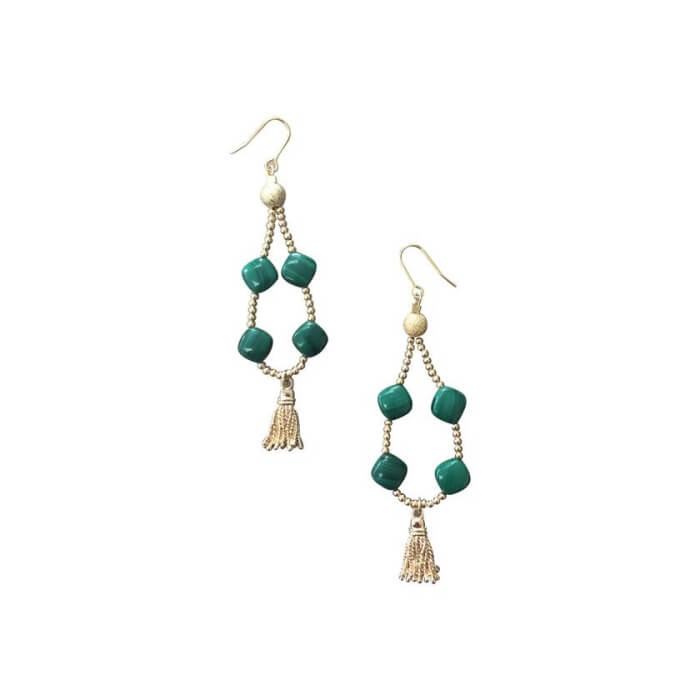 Teardrop Wired Malachite with Tassel Earrings