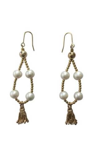 Wired Teardrop Shape with Freshwater and Tassel Earrings