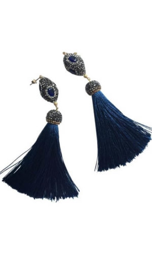 Rhinestones Tassels Earrings