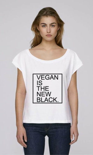 Vegan Is the New Black Crop Top-White