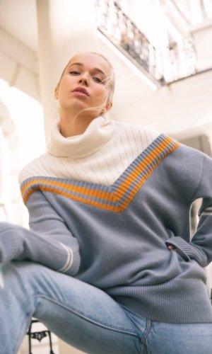 sweater, blue angora sweater