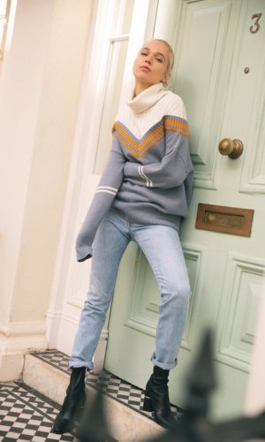 sweater, blue angora sweater