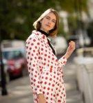 shirt dress, polka dot dress
