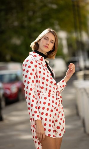 shirt dress, polka dot dress