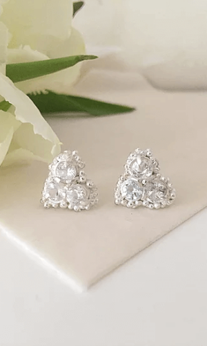 Kaia White Sapphire Cluster Stud Earrings