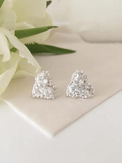 Kaia White Sapphire Cluster Stud Earrings