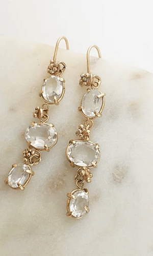 White Topaz Triple Drop Earrings