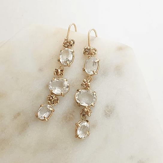 White Topaz Triple Drop Earrings