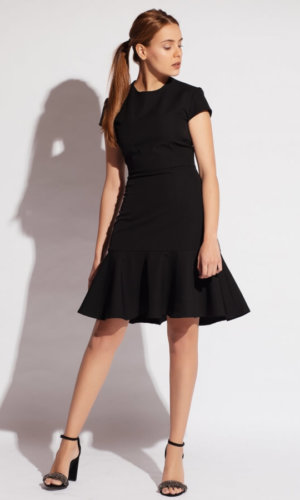 Elastic Crepe Buckled Dress