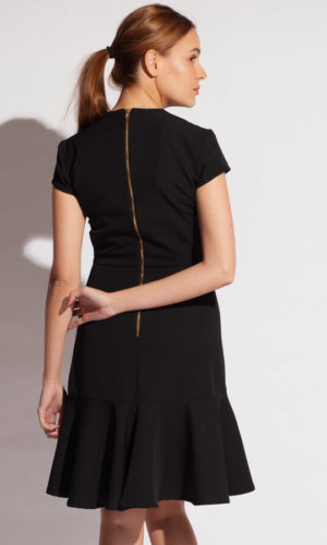 elastic crepe buckle dress