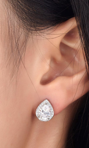 Silver Stud Earrings.