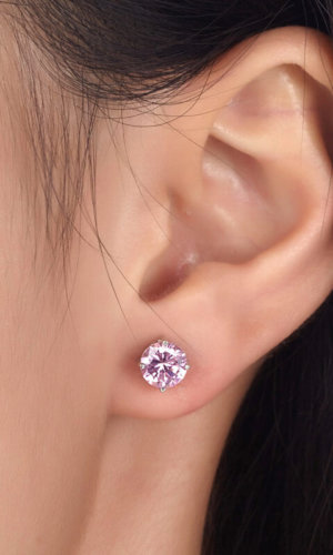 Pink Silver Stud Earrings.