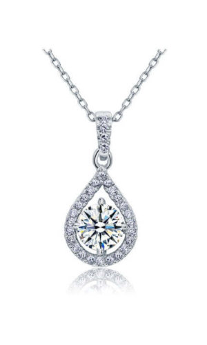 Silver diamond pendant