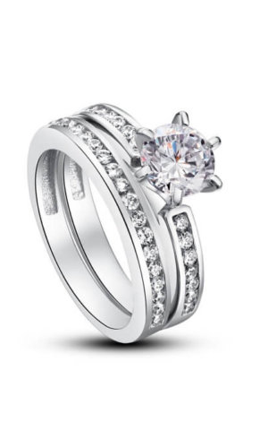 Silver Engagement Ring Set.